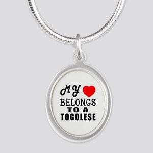 I Love Togolese Silver Oval Necklace