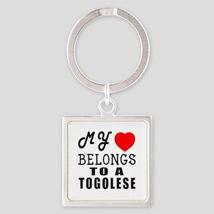 I Love Togolese Square Keychain