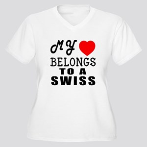 I Love Swiss Women's Plus Size V-Neck T-Shirt