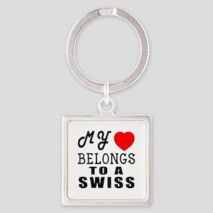 I Love Swiss Square Keychain