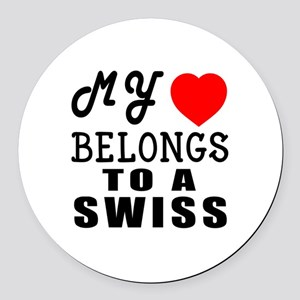 I Love Swiss Round Car Magnet