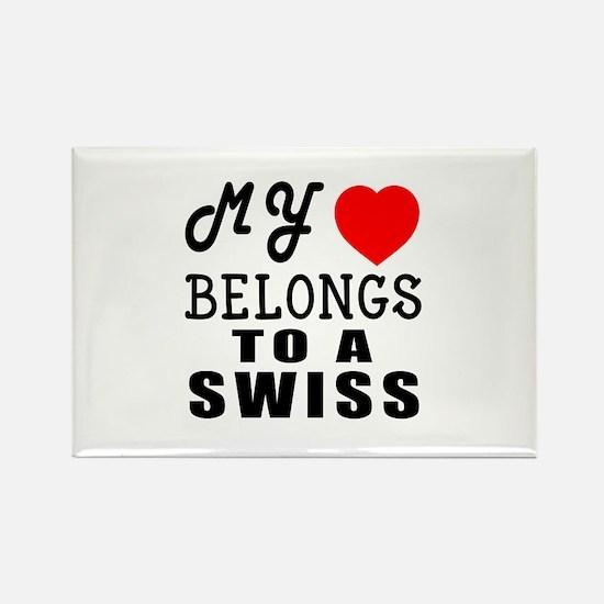 I Love Swiss Rectangle Magnet