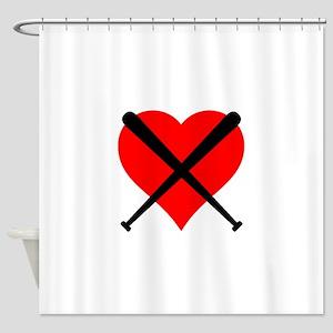 Softball Heart Shower Curtain