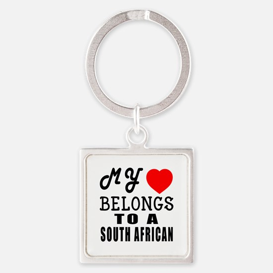 I Love South African Square Keychain