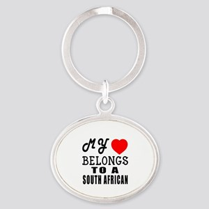 I Love South African Oval Keychain