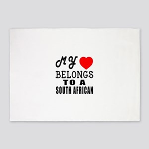 I Love South African 5'x7'Area Rug
