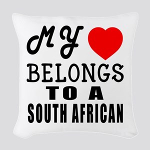 I Love South African Woven Throw Pillow