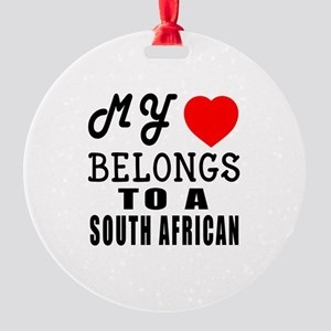 I Love South African Round Ornament