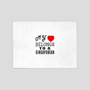 I Love Singaporean 5'x7'Area Rug