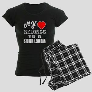 I Love Sierra Leonean Women's Dark Pajamas