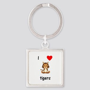 I love tigers Square Keychain