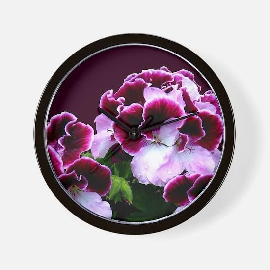 Pink Purple Geraniums Wall Clock