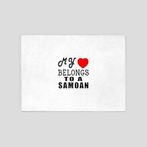 I Love Samoan 5'x7'Area Rug