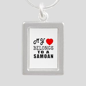 I Love Samoan Silver Portrait Necklace