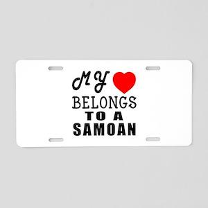 I Love Samoan Aluminum License Plate