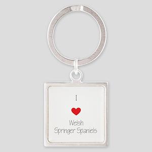I love Welsh Springer Spaniels Square Keychain