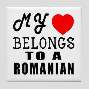 I Love Romanian Tile Coaster