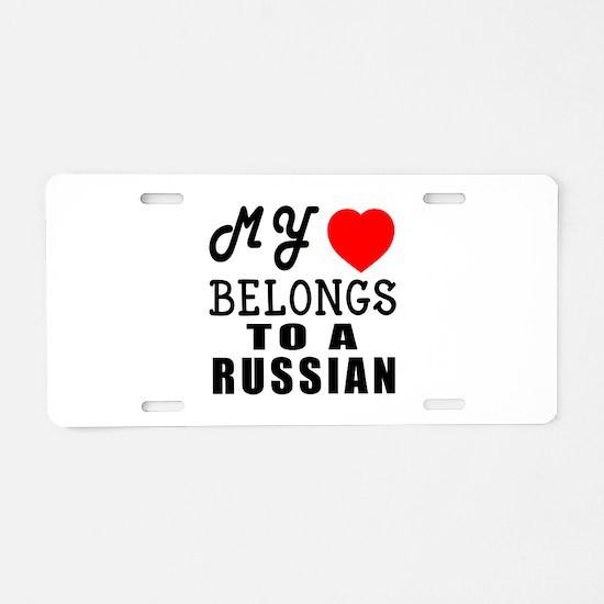 I Love Russian Aluminum License Plate