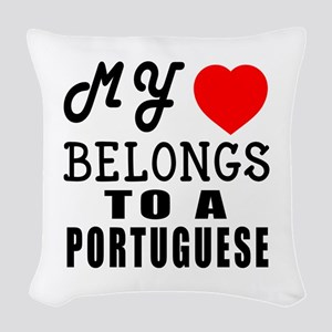 I Love Portuguese Woven Throw Pillow