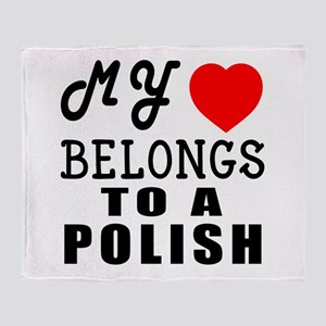 I Love Polish Throw Blanket