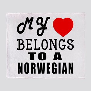 I Love Norwegian Throw Blanket