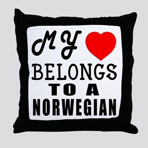 I Love Norwegian Throw Pillow