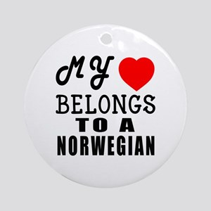 I Love Norwegian Round Ornament