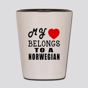 I Love Norwegian Shot Glass