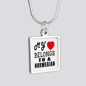 I Love Norwegian Silver Square Necklace