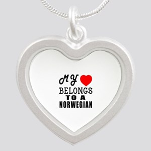 I Love Norwegian Silver Heart Necklace