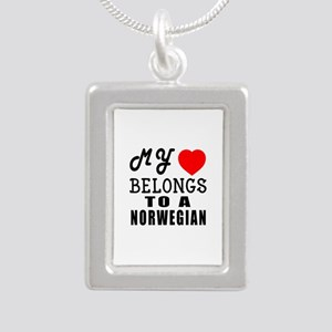 I Love Norwegian Silver Portrait Necklace
