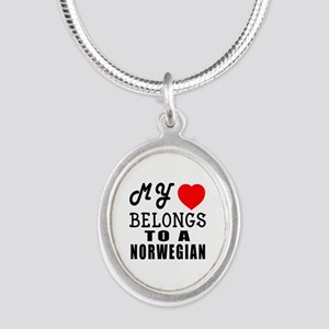 I Love Norwegian Silver Oval Necklace
