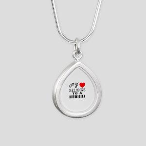I Love Norwegian Silver Teardrop Necklace