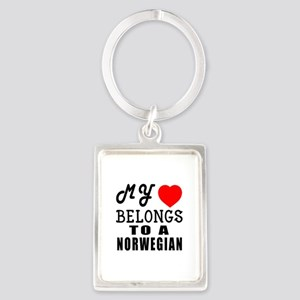 I Love Norwegian Portrait Keychain