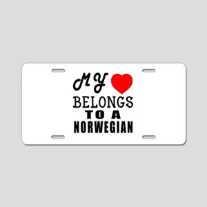 I Love Norwegian Aluminum License Plate