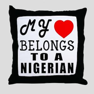I Love Nigerien Throw Pillow