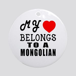 I Love Mongolian Round Ornament