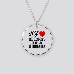 I Love Lithuanian Necklace Circle Charm