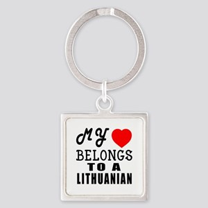 I Love Lithuanian Square Keychain