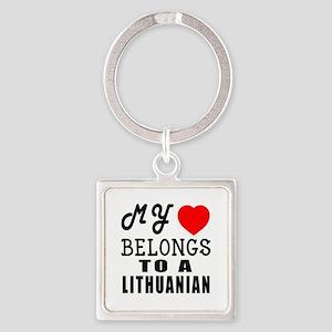 I Love Lithuanian Square Keychain