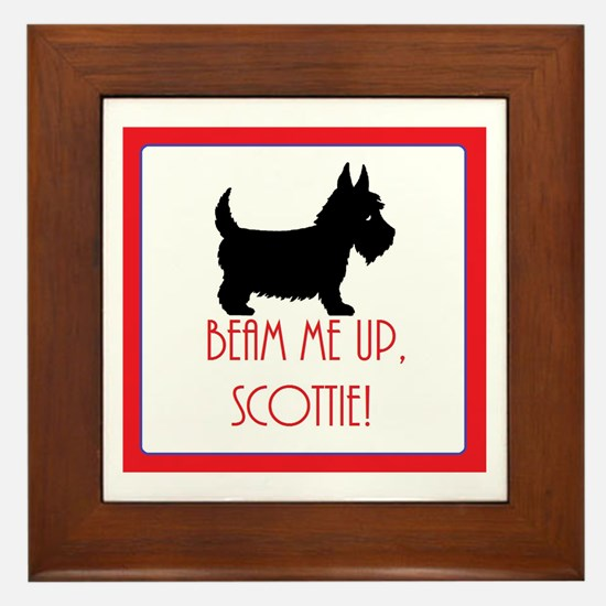 DOG - Beam me up, Scottie - Scottish T Framed Tile