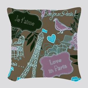 Love in Paris Woven Throw Pillow