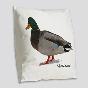 Mallard Duck Burlap Throw Pillow