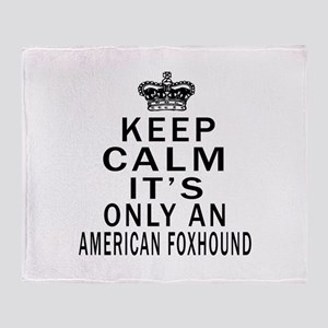 American foxhound Keep Calm Designs Throw Blanket