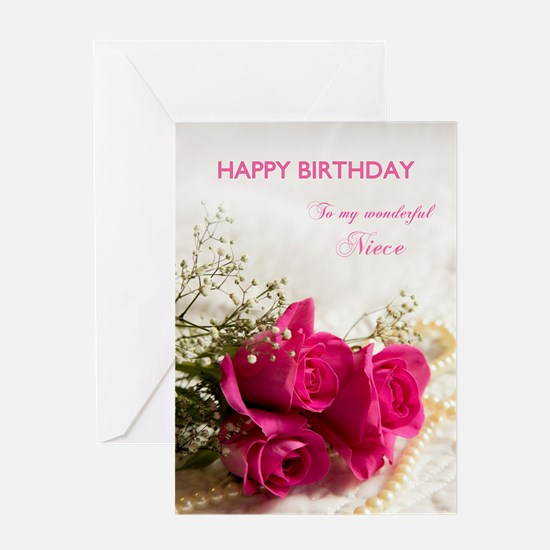 For niece, Happy birthday with roses Greeting Card