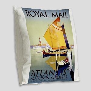 Vintage poster - Atlantis Burlap Throw Pillow