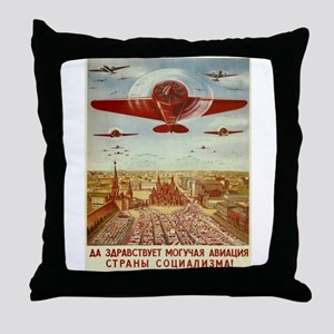 Vintage poster - Russian plane Throw Pillow