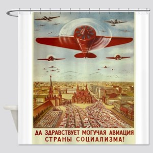Vintage poster - Russian plane Shower Curtain