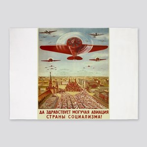 Vintage poster - Russian plane 5'x7'Area Rug