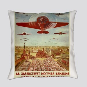 Vintage poster - Russian plane Everyday Pillow